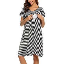 Soft Dresses Women Maternity  Short Sleeve Stripe O-Neck Cotton Blends Dressse Nursing Baby Nightdress Breastfeeding Dresses