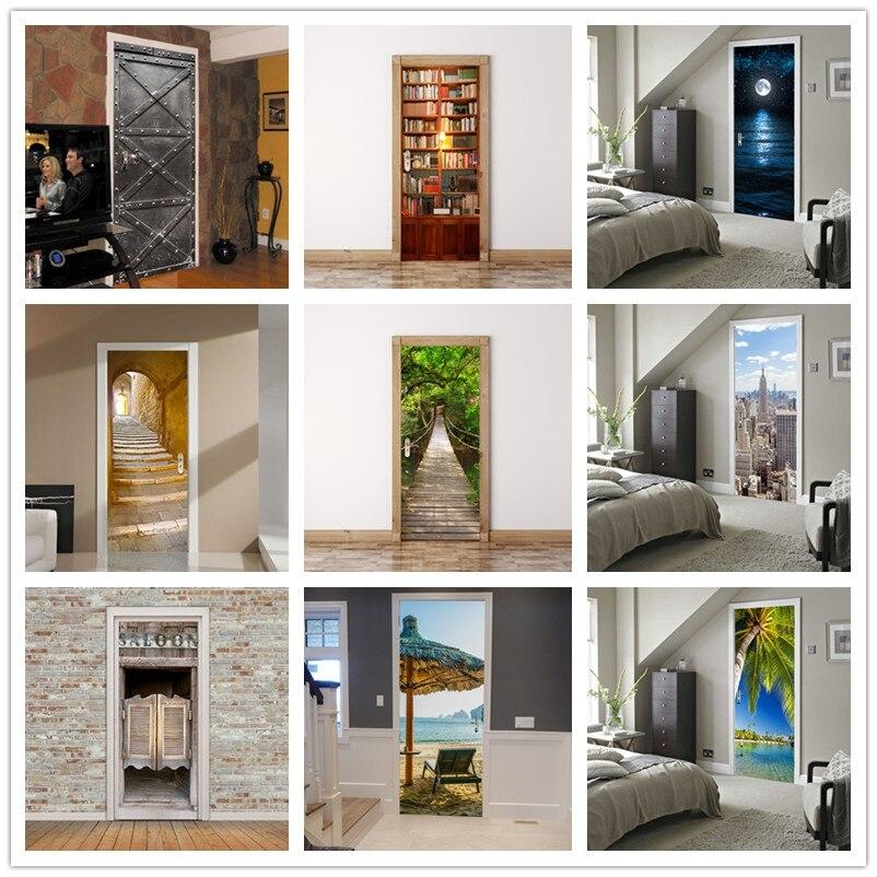 3d Door Stickers Stair Bookcase City Landscape Moon Wall Paper For Door Decoration Refresh Wooden Door Poster Paste 200cm*77cm
