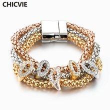 Chicvie 3 шт/компл золотые браслеты ручной работы в этническом