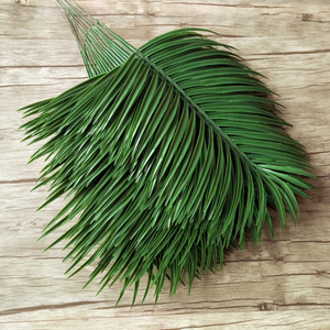 Image 1 - 20pcs Plastic Artificial Palm Tree Leaves Branch Green Plants Fake Tropical Leaf Home Wedding Decoration Flower Arrangement