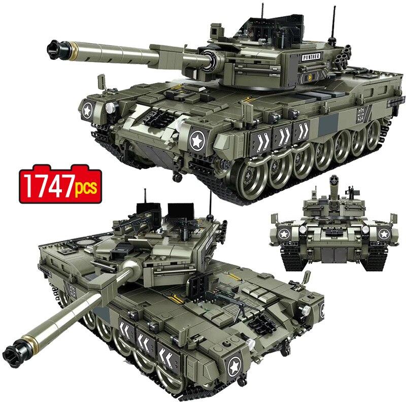 군사 표범 2 주요 전투 탱크 모델 빌딩 블록 호환 ww2 육군 군인 1747 pcs 키즈 소년을위한 bicks 장난감-에서블록부터 완구 & 취미 의  그룹 1