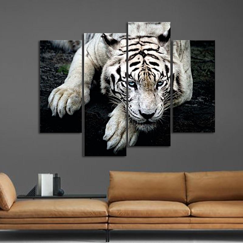 leinwand wandkunst malerei bilder leinwand tier schwarz und wei tiger liegen auf rockthe bild. Black Bedroom Furniture Sets. Home Design Ideas