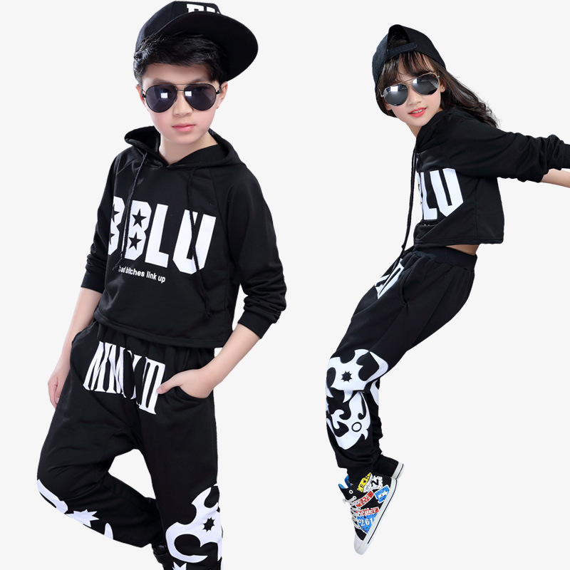 New Children 's Cotton Street Dance Jazz Dance Girl Performance Clothing Child boy's Fashion Shirt + Pants Suits Set new grub street
