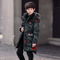 Boy Thickening Camouflage Parka Children's Boys Cotton wadded Jackets Winter Coat 2018 New Warm Outerwear For 6 11T Boy