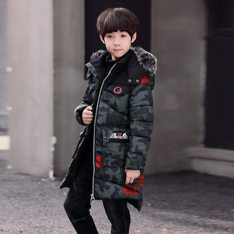 Engrosamiento camuflaje Parka de los niños de algodón wadded chaquetas abrigo de invierno 2018 nuevo abrigo caliente para 6- 11 t Boy