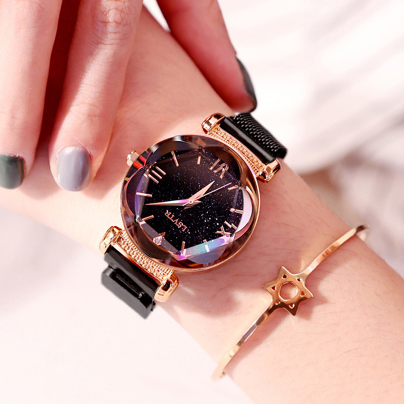 Luxury Women Watches Fashion Elegant Magnet Buckle Rose Gold Ladies Wristwatch 2019 New Starry Sky Roman Numeral christmas gift