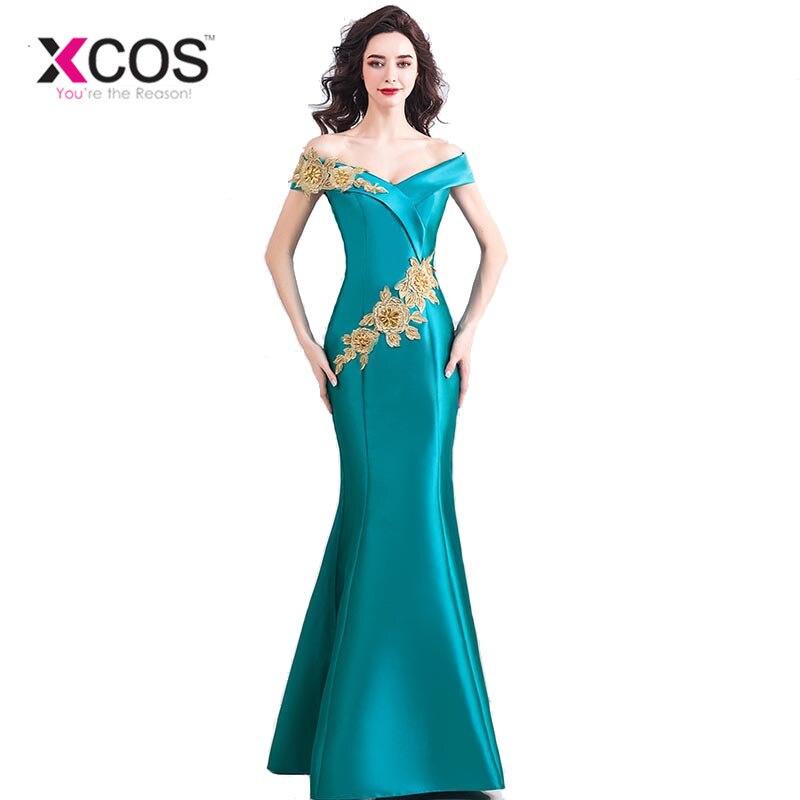 XCOS livraison gratuite bleu Royal mère des mariés robes à manches longues élégante dentelle robe de mariée robe de soirée de madrinha