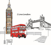 London Double-Decker Bus Wall Decal Removable Sticker Creative Art Mural Home Decor Decoration 60*90 Adesivo De Parede