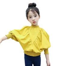 Blusa meninas crianças 2020 verão camisa branca meninas roupas 3 5 7 810 12 ano meninas manga longa blusa crianças topos 7 segundos peixe