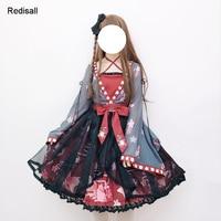 Lolita Chiffon Dress Long Sleeves High Waist Chinese Style Goldfish Japanese Sakura Cute Sweet Headwear Girls Women Dress 0923