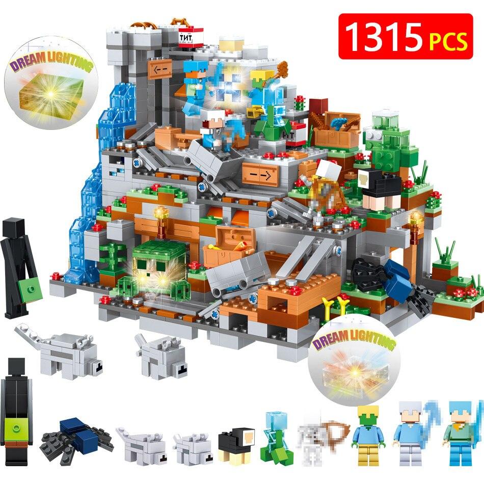 Новые горячие блоки мой мир Совместимость LegoINGLYS Minecrafted 3D свет органов пещеры замок деревня серии игрушки для мальчиков