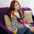 2016 New Winter Warm Woolen Women Sweater and Pullover Long sleeve Casual Sweater Knitwear Parrot Striped Print Blusas Top Tunic
