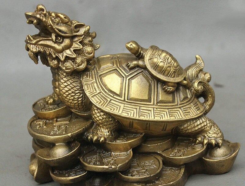 Statue chinoise de tortue de tortue de Dragon de longévité de pièce d'argent de richesse en laiton de Fengshui