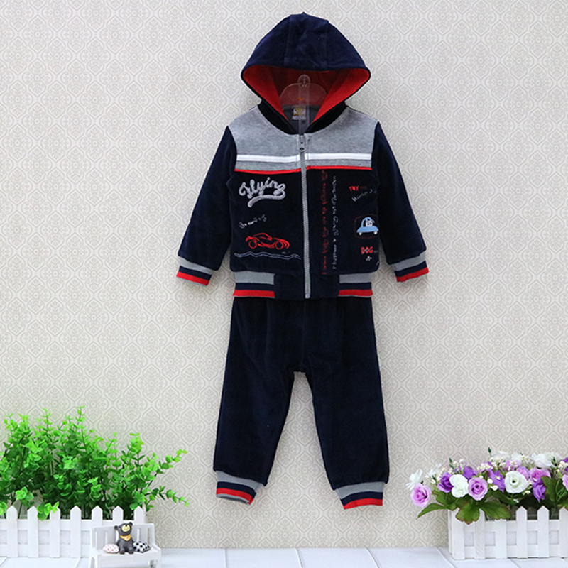 Children Hooded Long Sleeve Clothing Set Velour Zipper Outfits Boys Long Sleeve Jacket+Pants 2 pieces/set Clothes long sleeve gianfranco ferre long sleeve