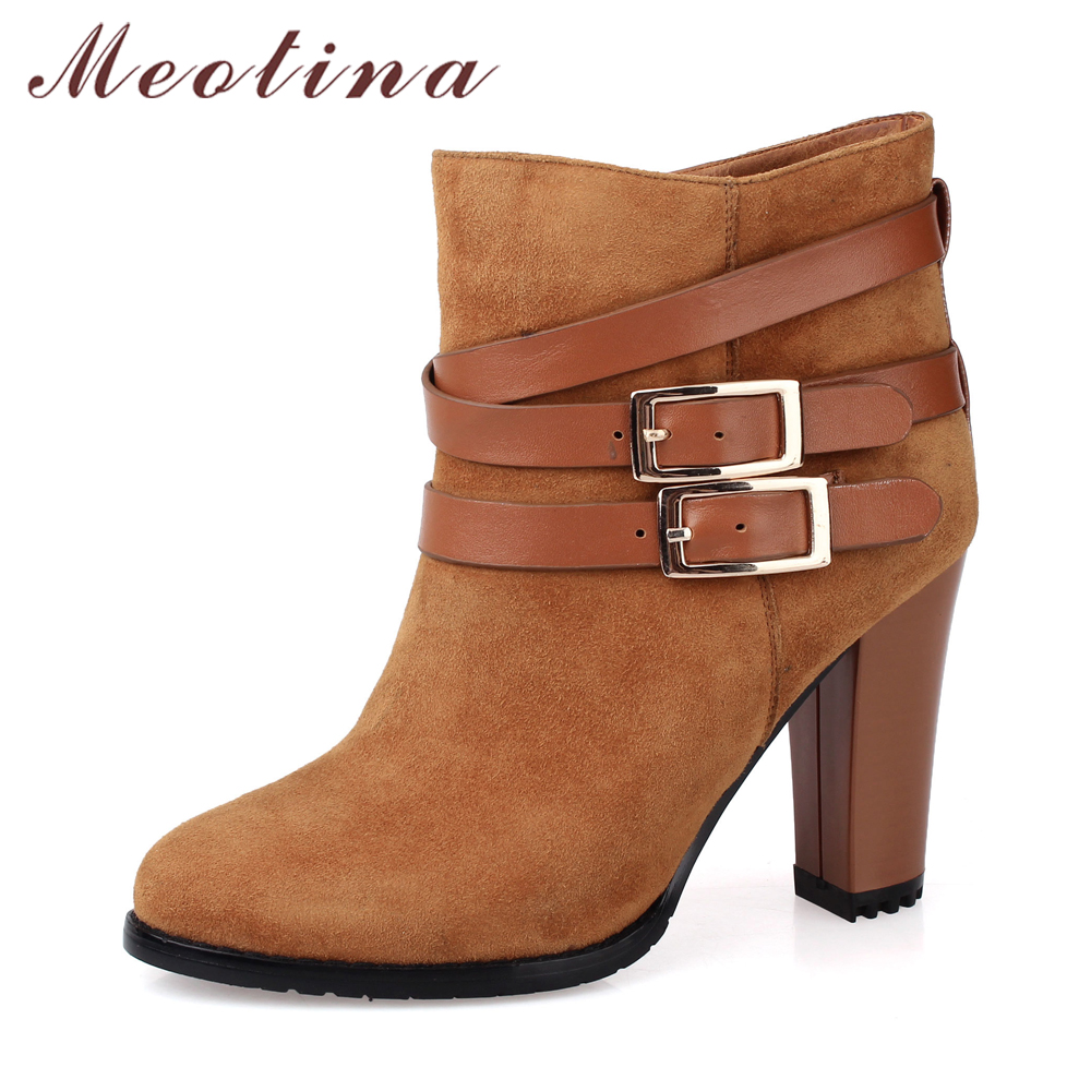 Meotina Genuine Leather Shoes Women Buckle Thick High Heel Ankle Boots Kid Suede Boots Autumn Brand Design Shoes Black Clearance women s genuine suede leather hemp wedge platform slip on autumn ankle boots brand designer leisure high heeled shoes for women