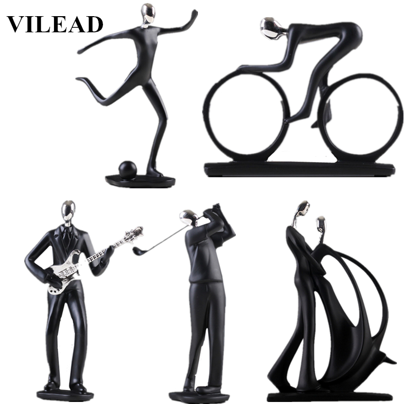 Home Deoration Modern 17 Style Character Resin Sports Man Figurines Football Bicycle Golf Miniatures Guitar Saxophone Music