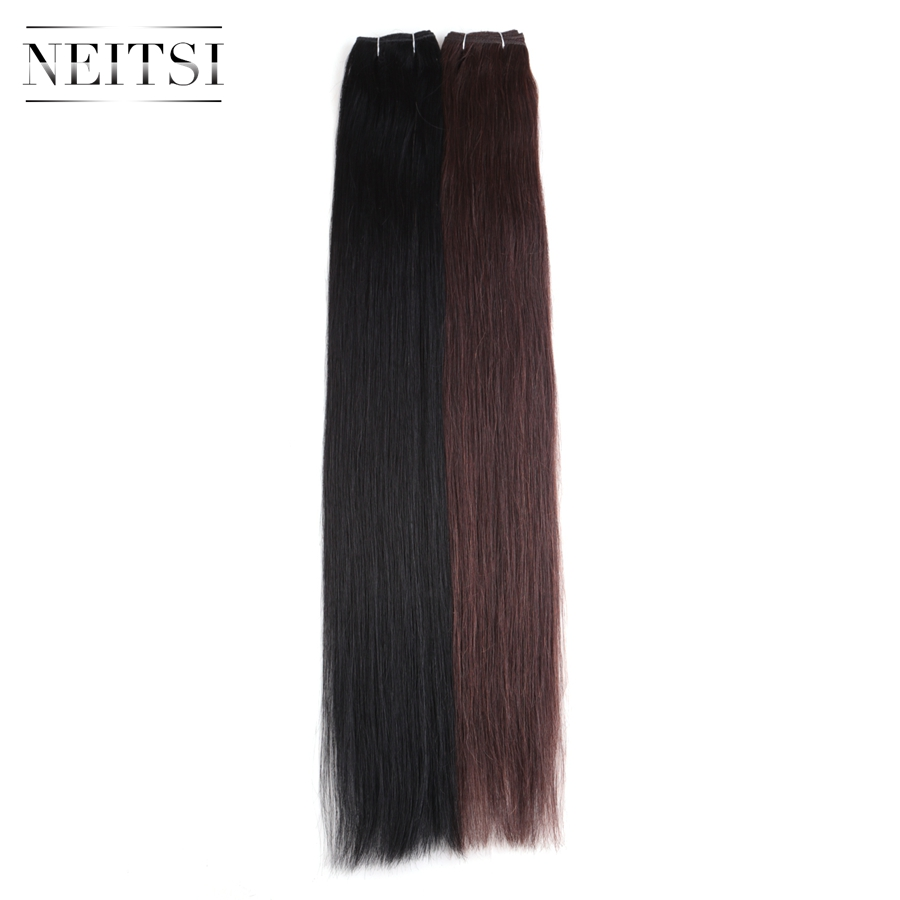 Neitsi Straight Brazilian Remy Human Hair Extensions 26 65 cm 110g pc 1 Jet Black 2