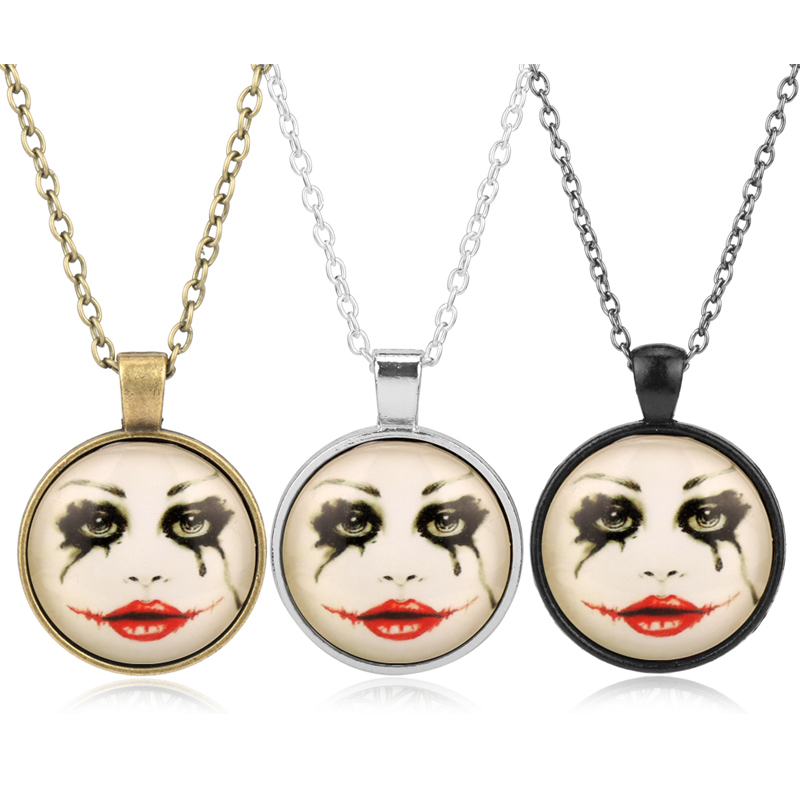 Hot Movie Series Suicide Squad Necklace Glass Round Shape Link Chain Choker Pendant Necklace for Women Girl Gift-30