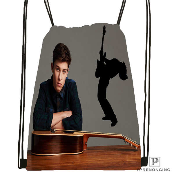 Custom Shawn Mendes  Drawstring Backpack Bag Cute Daypack Kids Satchel (Black Back) 31x40cm#180612-02-5