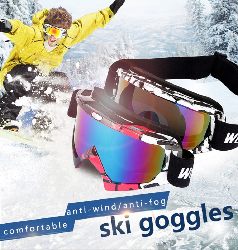 WOLFBIKE Pro Outdoor Sports Ski Goggles Color Lens UV400 Anti-fog Skiing Men Women Snow Glasses With Elastic Band Holding Bag