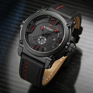 Image 5 - NAVIFORCE 탑 럭셔리 브랜드 남자 스포츠 밀리터리 쿼츠 시계 남자 아날로그 날짜 시계 가죽 스트랩 손목 시계 Relogio Masculino
