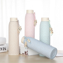 Imitation Rattan Glass Water Bottle Student Drinkware Portable Outdoor