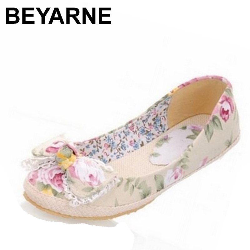 BEYARNE Big Size 34-43 Flower Print Canvas Flats Fashion Sweet Bow Shoes For Women Casual Dress Spring Summer Flats Shoes beyarne rivets decoration brand shoes flats women spring autumn fashion womens flats boat shoes sexy ladies plus size 11
