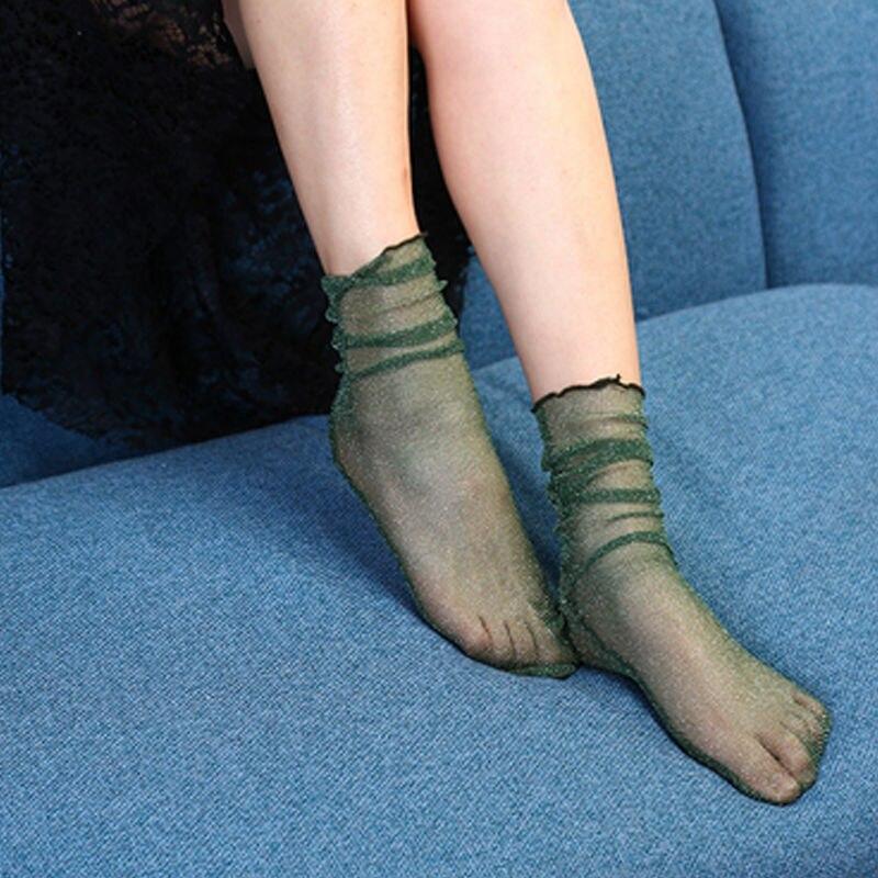 2017 Women 5 colors Summer Crystal Transparent socks Short Shiny Glass Loose Socks Hosiery Sexy Summer Sock