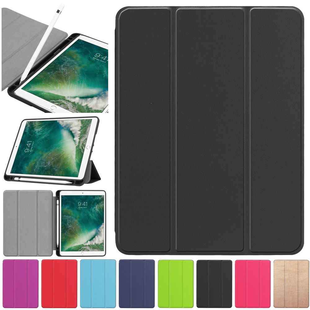 Soft Case For iPad Air 2 PU Leather Smart Stand Flip Cover With Pencil Holder Auto Sleep/Wake For Apple iPad 6 luxury ultra slim magnetic smart flip stand pu leather cover case for apple ipad 6 air 2 retina display wake stylus pen