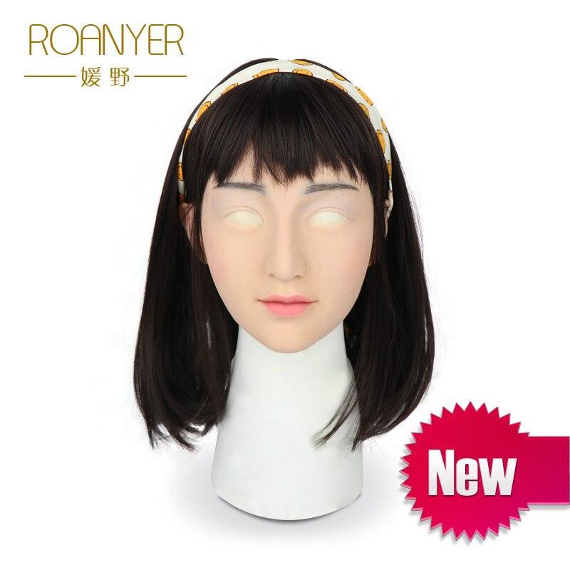 Roanyer crossdresser mammaires en silicone artificielle trans masque réaliste transgenres latex sexy cosplay pour mâle halloween masques
