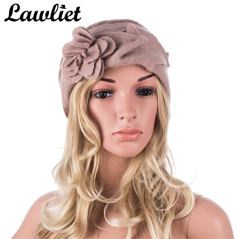 Lawliet Wool Hat Wanita Winter Topi Pepejal Bunga Panas Rajutan Ladies Beanies Skullies Bonnet Femme Bucket Cloche Winter Cap 2017