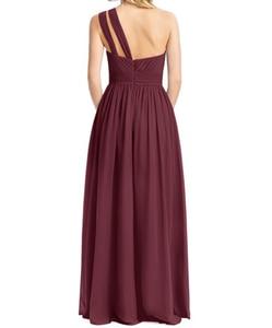 Image 3 - בורגונדי שושבינה שמלות ארוך שיפון שמלת מסיבת חתונה 2020 חלוק עלמת Dhonneur חתונת אורח שמלה