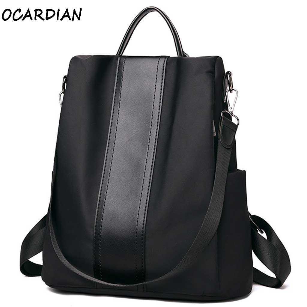 OCARDIAN Backpack Women Anti Theft Backpack Women Shoulder Bag Nylon Female School Back Fashion Classic Solid Wild Dropship A27