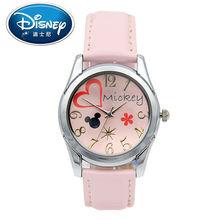 2017 Disney Kids Reloj Girlss Manera Ocasional Lindo Fresco Relojes de pulsera de Cuarzo Resistente Al Agua para Los Niños Mickey Mouse Amor reloj