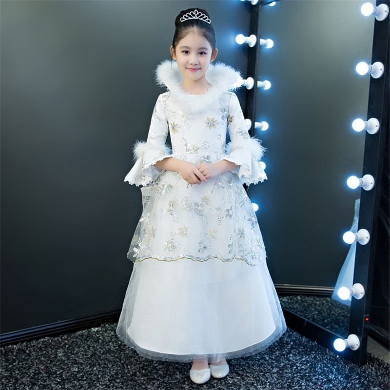 Girls Birthday Wedding Evening Party Embroidery Flowers Lace Princess Dress Children Kids Model Show Costume Pageant Long Dress girls birthday wedding evening party embroidery flowers lace princess dress children kids model show costume pageant long dress