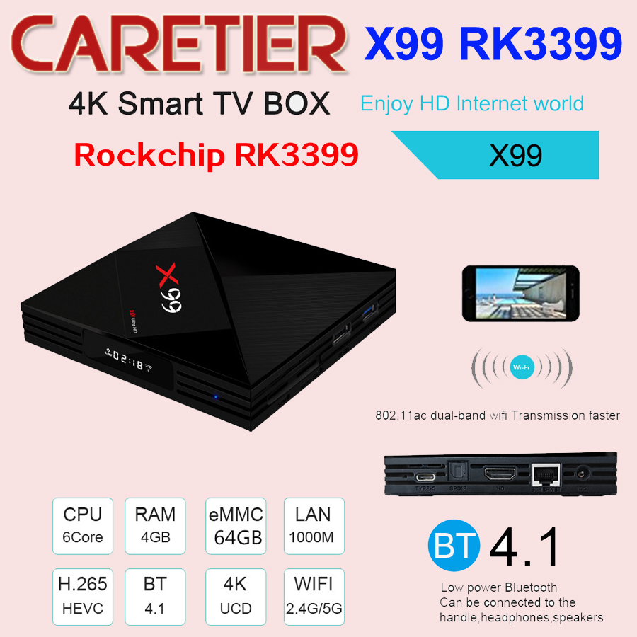 2018 Latest X99 Android 7 1 TV BOX RK3399 4GB RAM 64GB ROM With Voice remote