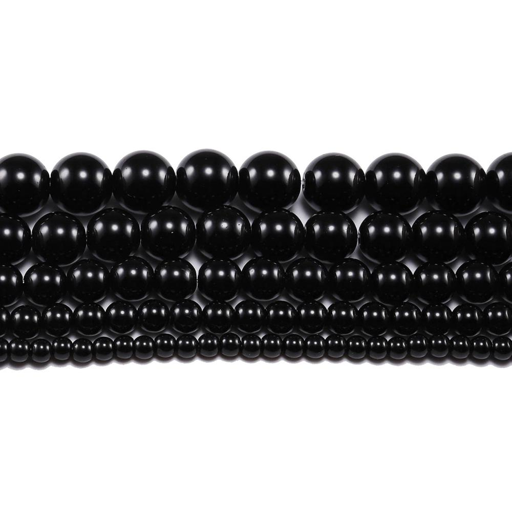 1strand lot 4 6 8 10 12mm Black Glass Bead Round Loose Spacer Beads For Jewelry Making Supplies DIY Bracelet Necklace Accessory in Beads from Jewelry Accessories