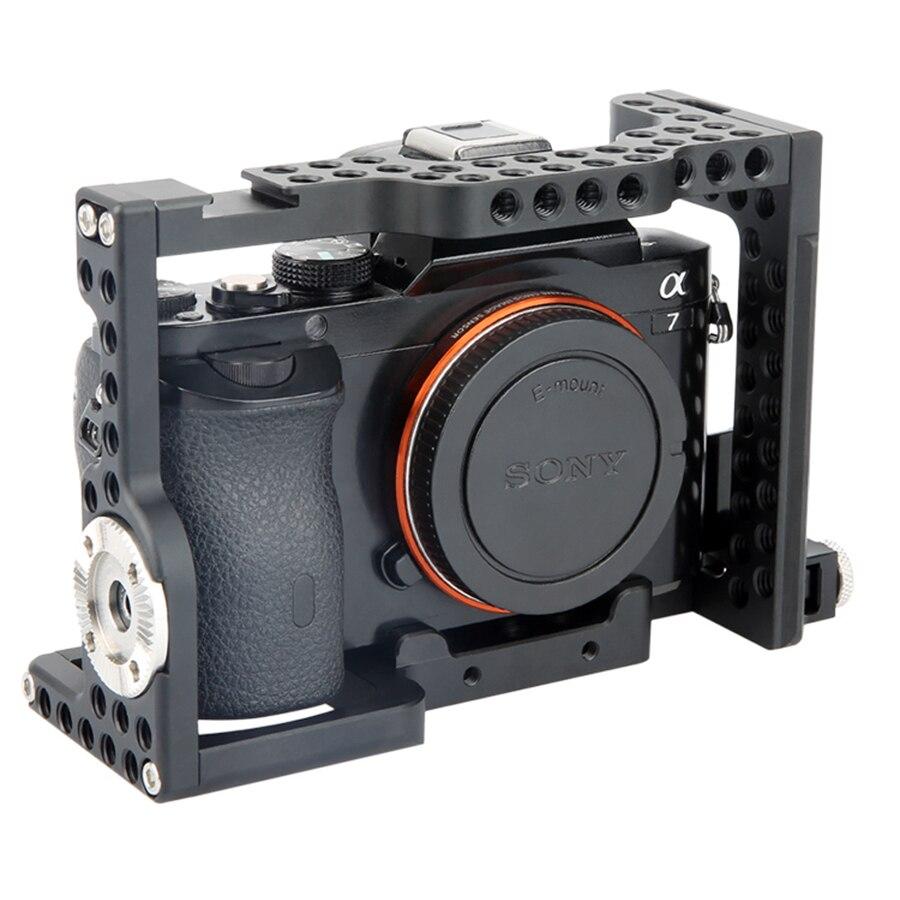 лучшая цена Aluminum DSLR Camera Cage with ARRI Standard Rosette for Sony A7III A7MIII A7RIII A7RII A7SII A7II A7R A7S A7 A9 Camera