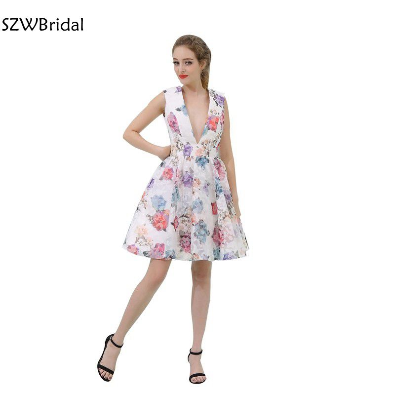 Fashion In Stock V neck Knee length   Cocktail     dresses   2019 Vestido de festa curto   Cocktail   party   dress   Vestido de festa