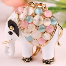 Free Shipping! Hot Sale Opal Beads Elephant Animal Bag Hanger Keychain Keyring Accessory for Women Novelty Gifts