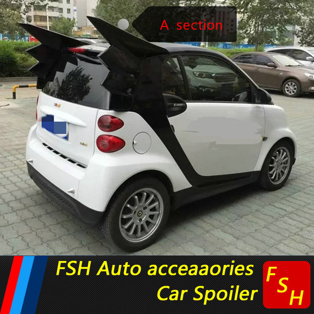 For Mercedes Benz Smart Abs Material Car Rear Wing Unpaint Color Spoiler Fortwo