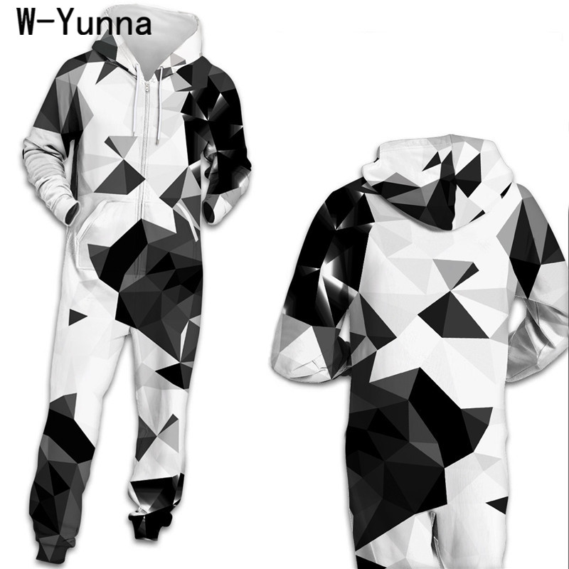 W Yunna 2019 Harajuku White Black Color Block Loungewear Hooded Onesies One Pieces Unisex Adult Zipper