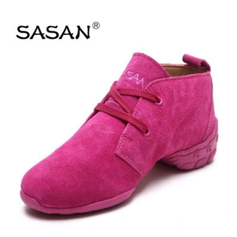 Sneakers Modern Jazz Dance Shoes Woman SASAN 8872 Women Shoes Slip-up TPR Wear-resistant Sole High Grade Sheepskin Red 2018 NEW