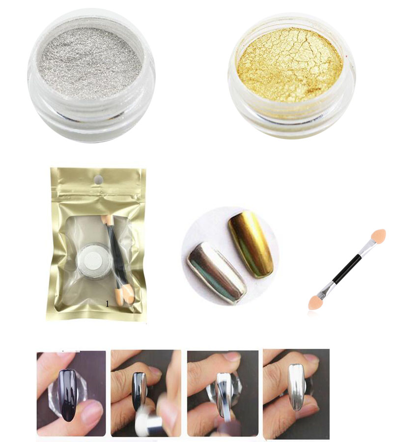 2 Boxes lot Rub Mirror Powder Gold Silver Chrome Effect Professional Grade Nail Art pigment Cosmetic Dry Sparkling Glitter Dust in Nail Glitter from Beauty Health