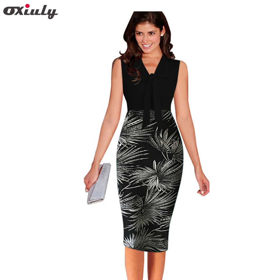 Oxiuly 2017 Summer Women's Elegant Patchwork Dress Leaf Print Retro Slim Office Business Casual Sheath Fitted Work Pencil Dress