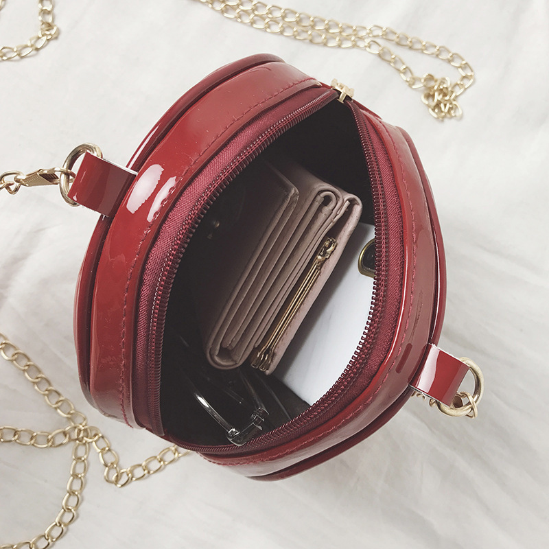 Bags Handbags Women Famous Brands Fashion PU Leather Round Bag Red Black Letter Prints Chain Mini Ladies Crossbody Messenger Bag