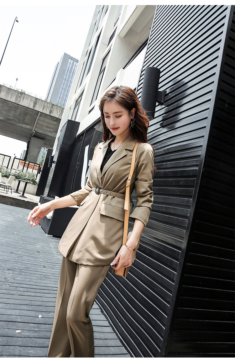 Set female 2018 autumn temperament solid color small suit jacket + casual pants fashion two-piece elegant women's clothing