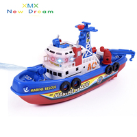 Free Shipping Children Fun Fun With Light Music Electric Cruise Fire Spray Boat Boat Model Boys