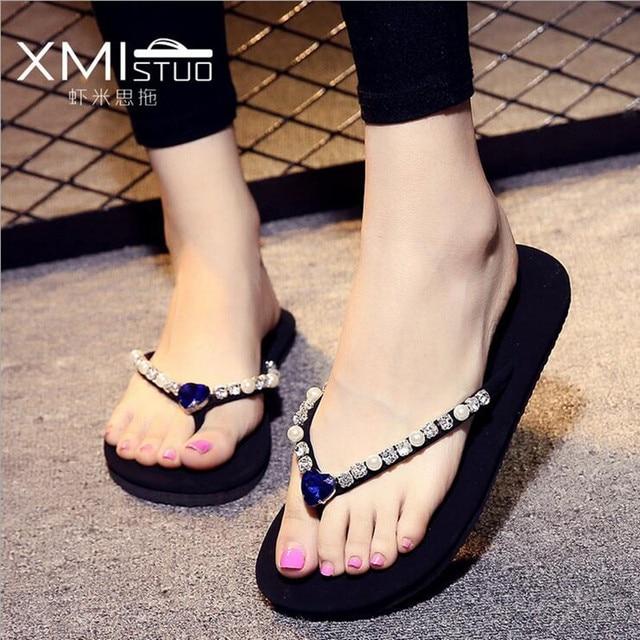 Women Sandals Flats Summer Shoes Women 2016 Summer Style Rhinestone Flat  Heel Flip Flops Women Slipper. Size 35-40 8ac1b39ae319