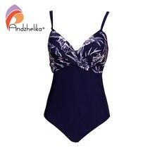 Andzhelika Frauen Plus Größe Einteiligen Badeanzug Sexy Druck Bademode Sommer Beachwear Vintage Falten Badeanzüge Body Monokini